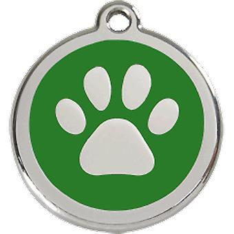 Red Dingo Dog indentidad plate S Green Footprint