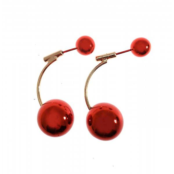 W.A.T Gold Style Red Shiny Ball Earrings