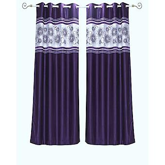 Purple Grommet Top Satin Curtain Panel Drape -Piece