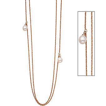 Criss-cross chain 2-reihig 925 Silver rose gold plated 2 Freshwater Pearl 90 cm