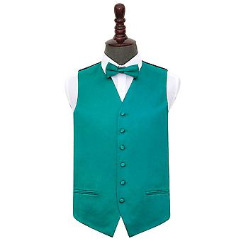 Gilet de Satin mariage Teal plaine & ensemble de noeud papillon