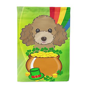 Chocolate Brown Poodle St. Patrick's Day Flag Garden Size