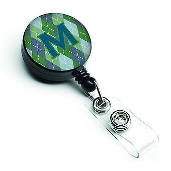 Monogramm - erste M blau Argoyle versenkbare Abzeichen Reel