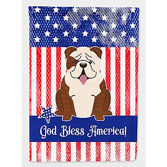 Patriotic USA English Bulldog Brindle White Flag Canvas House Size