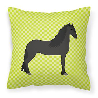 Carolines Treasures  BB7741PW1818 Friesian Horse Green Fabric Decorative Pillow