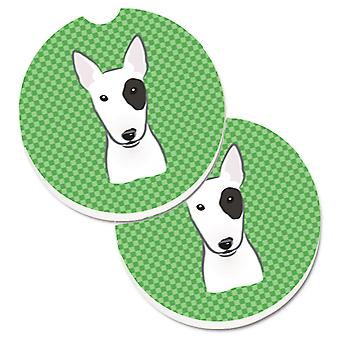 Green Checkered Bull Terrier Set of 2 Cup Holder Car Coasters