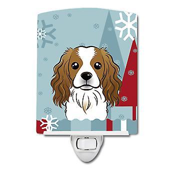 Winter Holiday Cavalier Spaniel Ceramic Night Light