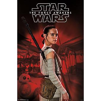 Star Wars The Force Awakens - Rey Staff Poster Poster Print