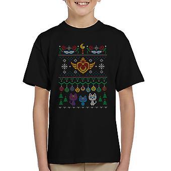 Sailor Moon Senshi Christmas Knit Pattern Kid's T-Shirt
