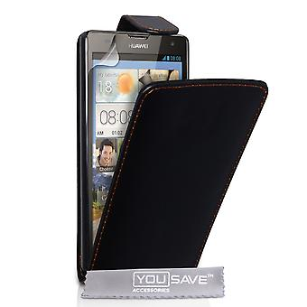 Huawei Ascend G740 Leather-Effect Flip Case - Black