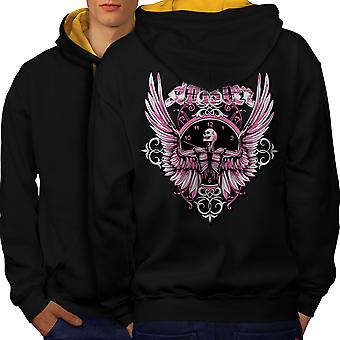 Total Mortal Skull Men Black (Gold Hood)Contrast Hoodie Back | Wellcoda