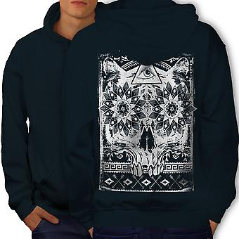Triangle Psycho Skull Men NavyHoodie Back | Wellcoda
