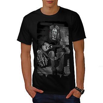 Lion Guitar Player mænd BlackT-skjorte | Wellcoda