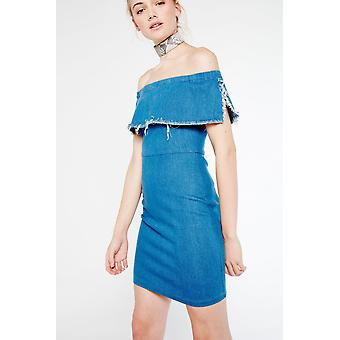 After Market Off-The-Shoulder Denim Dress With Frayed Detail