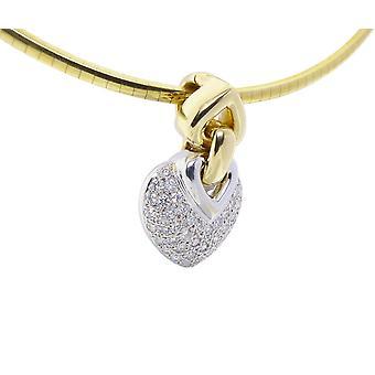 Colgante de diamantes de oro blanco cristiana corazones