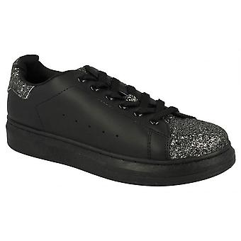 Ladies Womens New Skate Style Lace Up Glitter Fashion Trainers Shoes