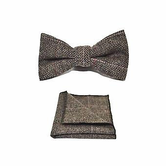 Luxury Herringbone Mocha Brown Bow Tie & Pocket Square Set - Tweed, Plaid Country Look