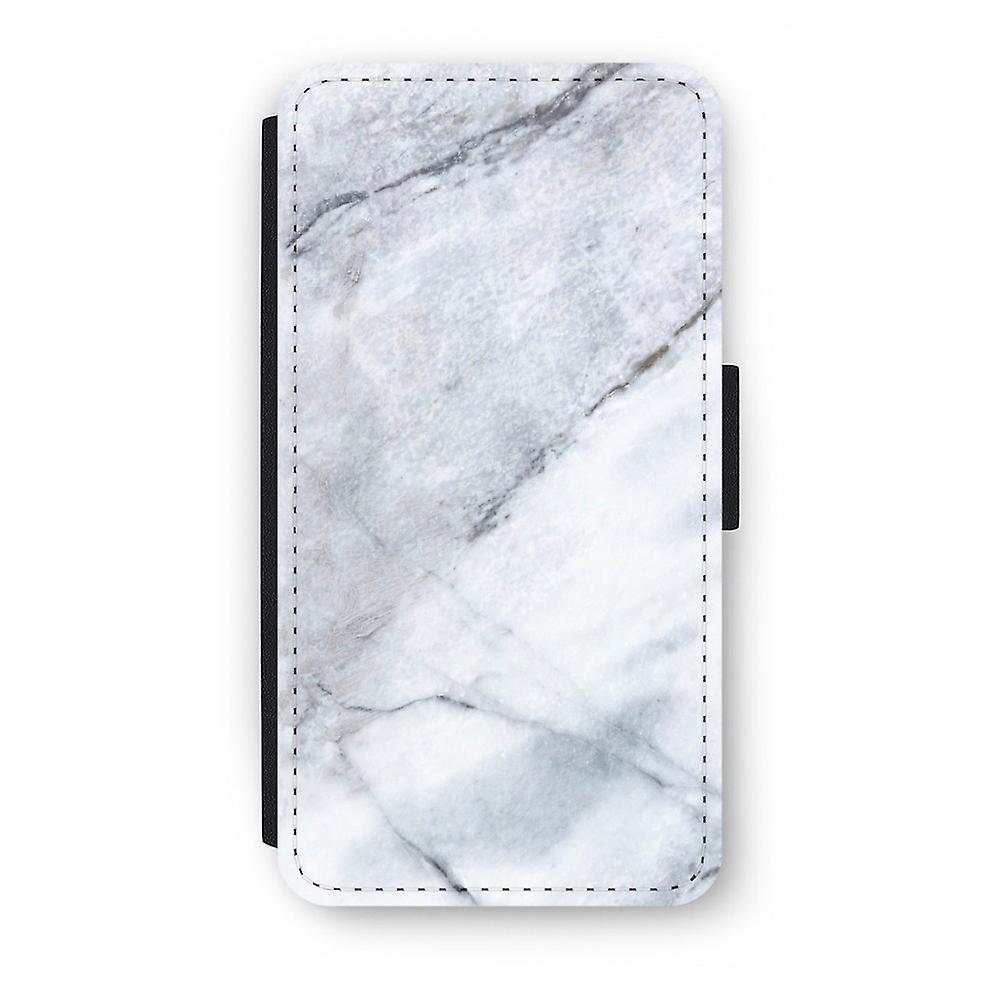 iPhone X Flip Case - Marmor weiß