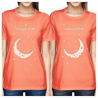 La lune et retour BFF abondement de chemises Womens Peach meilleur ami dons
