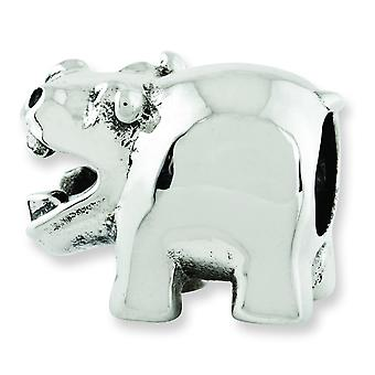 Sterling Silver Polished Antique finish Reflections Hippo Bead Charm