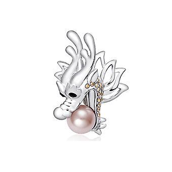 Broche Perle Dragon Argenté, Cristal de Swarovski Elements et Plaqué Rhodium