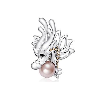 Broche sølv Dragon, elementer og Rhodium plade Swarovski Crystal Pearl