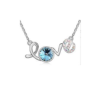 Love necklace adorned with Blue Swarovski crystal and White Gold Plate