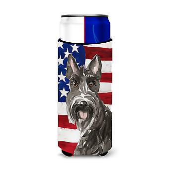 Patriotic USA Scottish Terrier Michelob Ultra Hugger for slim cans