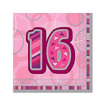 Verjaardag Glitz roze - 16e verjaardag - lunch servetten