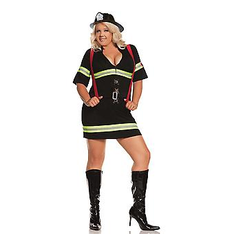Elegant Moments Womens Plus Size Sexy Firefighter Blazing Hot Halloween Roleplay Costume