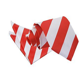 Red & White Striped Tie & Pocket Square Set