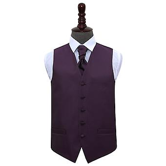 Cadbury Purple Greek Key Wedding Waistcoat & Cravat Set