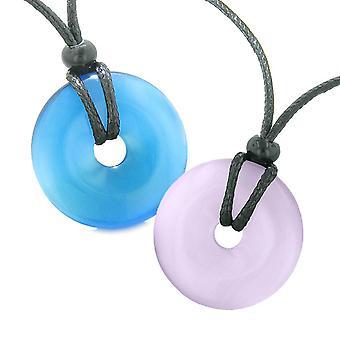 Großer Glücksbringer Münze Donuts positiven Kräfte am besten Freunde Himmelblau und lila Katzen Auge Halsketten