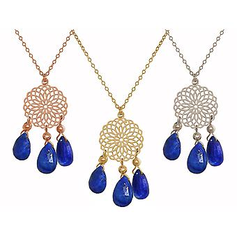 GEMSHINE ladies necklace with mandala and lapis lazuli gems. Chandelier pendant made of silver, gold or rose gold plated 60 cm-long necklace. Made in Munich, Germany. In the elegant gift box.