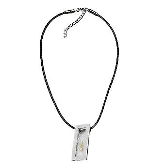 Necklace necklace of square metal pendant with 3 beads black cord 45 cm