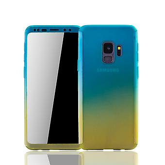 Samsung Galaxy S9 mobile housing Schutzcase full cover 360 display protection foil blue / yellow