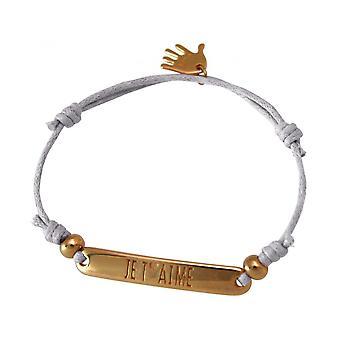 Women - bracelet - engraved - PER T ´ AIMÉ - rose gold plated - light grey
