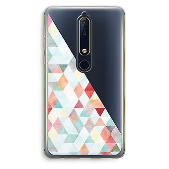 Nokia 6 (2018) Transparent Case (Soft) - Coloured triangles pastel
