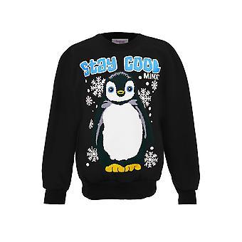 Girls Hooded Stay Cool Christmas Penguin Children's Pull Over Hoodie Sweatshirt