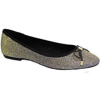 FLE010 Okrzyki wieczorem pompy Glitter Sparkle Stud łuk akcent Slip On buty płaskie