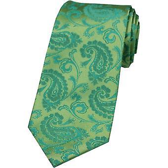 David Van Hagen Paisley tonalnych Jedwabny krawat - Jade Green