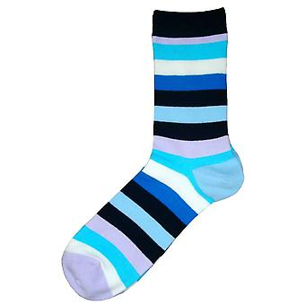Bassin and Brown Multi Stripe Socks - Blue/Multi-colour