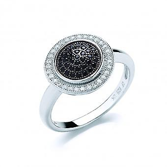 Cavendish French Black and Clear Cubic Zirconia Circles Ring