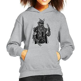 Kid Punk portret samuraj jest z kapturem Bluza