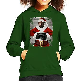 Christmas Mugshot Hans Gruber Kid's Hooded Sweatshirt