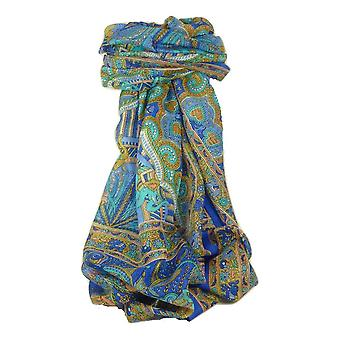 Classic Paisley Long Scarf Mulberry Silk Anya French Blue by Pashmina & Silk