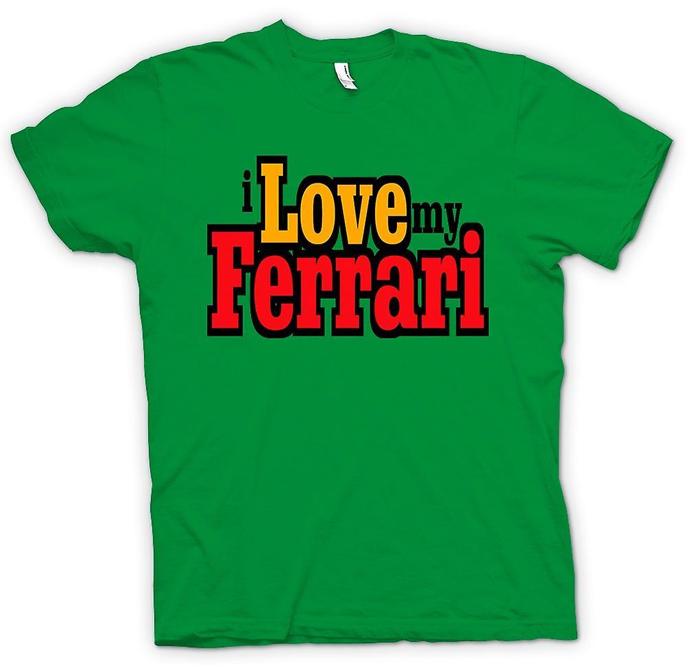 Mens t-skjorte - jeg elsker min Ferrari - bilentusiast