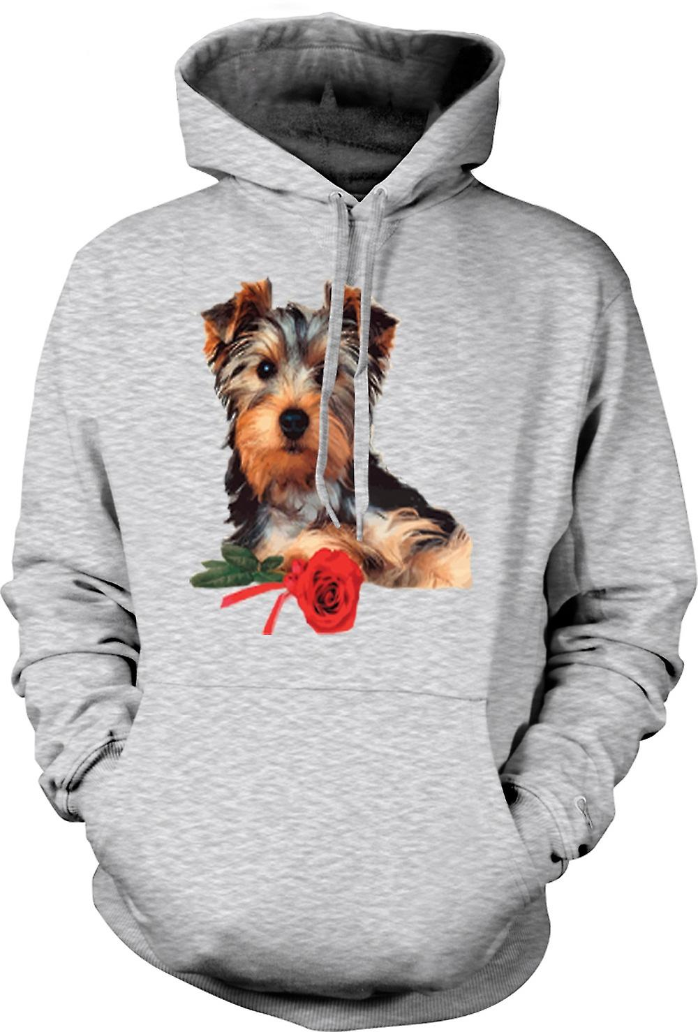 Mens Hoodie - Yorkshire Terrier Dog with Rose