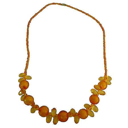 Saffron Orange Beads Small Girls Necklace