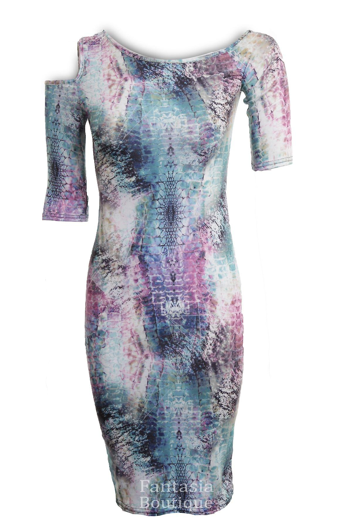 New Ladies Short Sleeve Cutout Snake Spider Graffiti Print Women's Bodycon Dress